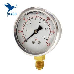 60mm нерѓосувачки челик случај месинг врска дното тип манометар 150PSI масло исполнет со манометар